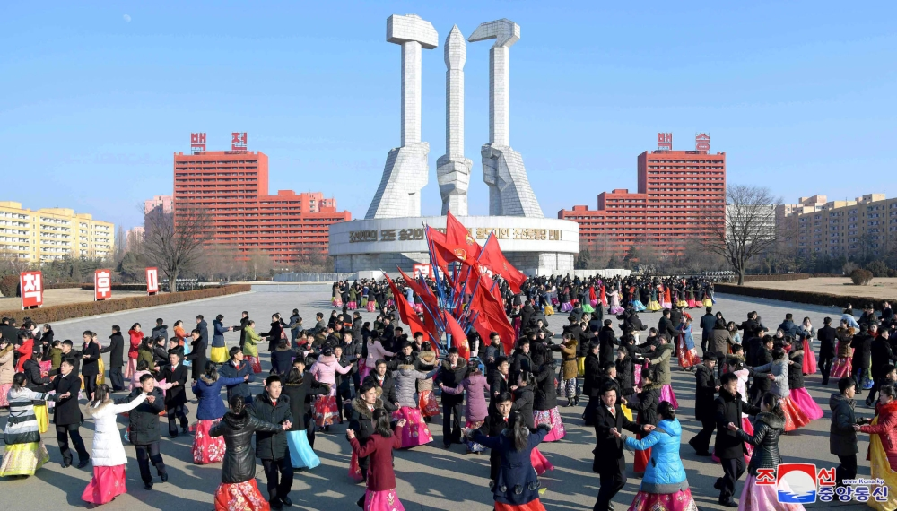 Dancing parties of youth and students take place to celebrate the Day of the Shining Star, the birth anniversary of former North Korean leader Kim Jong Il in Pyongyang, Saturday. — Reuters