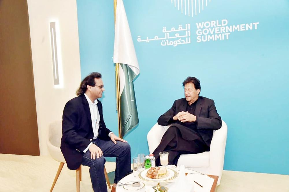 Pakistani Prime Minister Imran Khan in conversation with Jameel Altheyabi, Editor-in-Chief of Okaz & General Supervisor of Saudi Gazette Editorial. — Okaz/SG photo