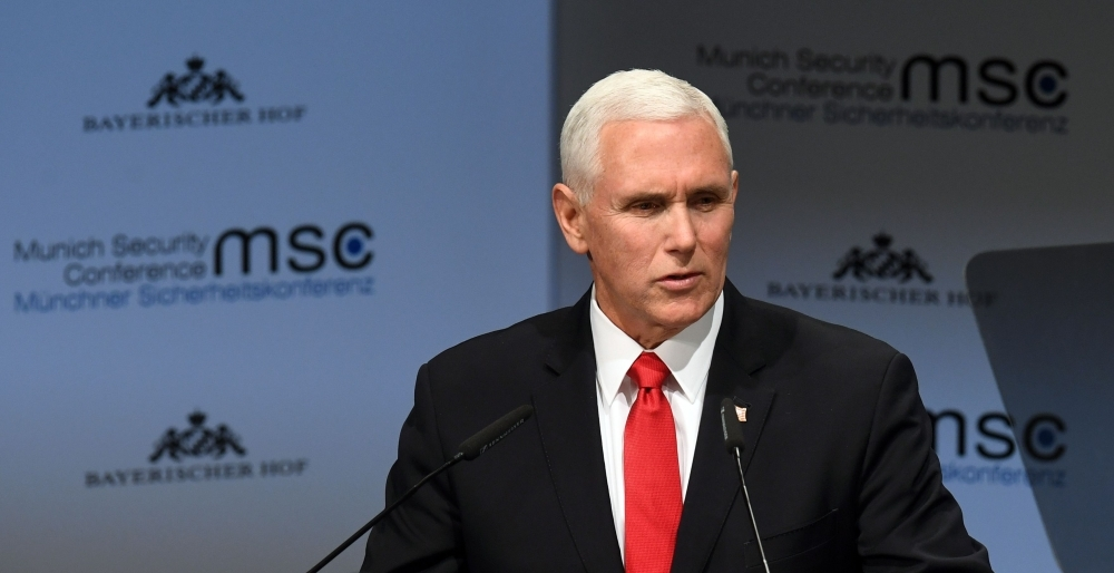 US Vice President Mike Pence delivers a speech during the 55th Munich Security Conference in Munich, southern Germany, on Saturday. — AFP