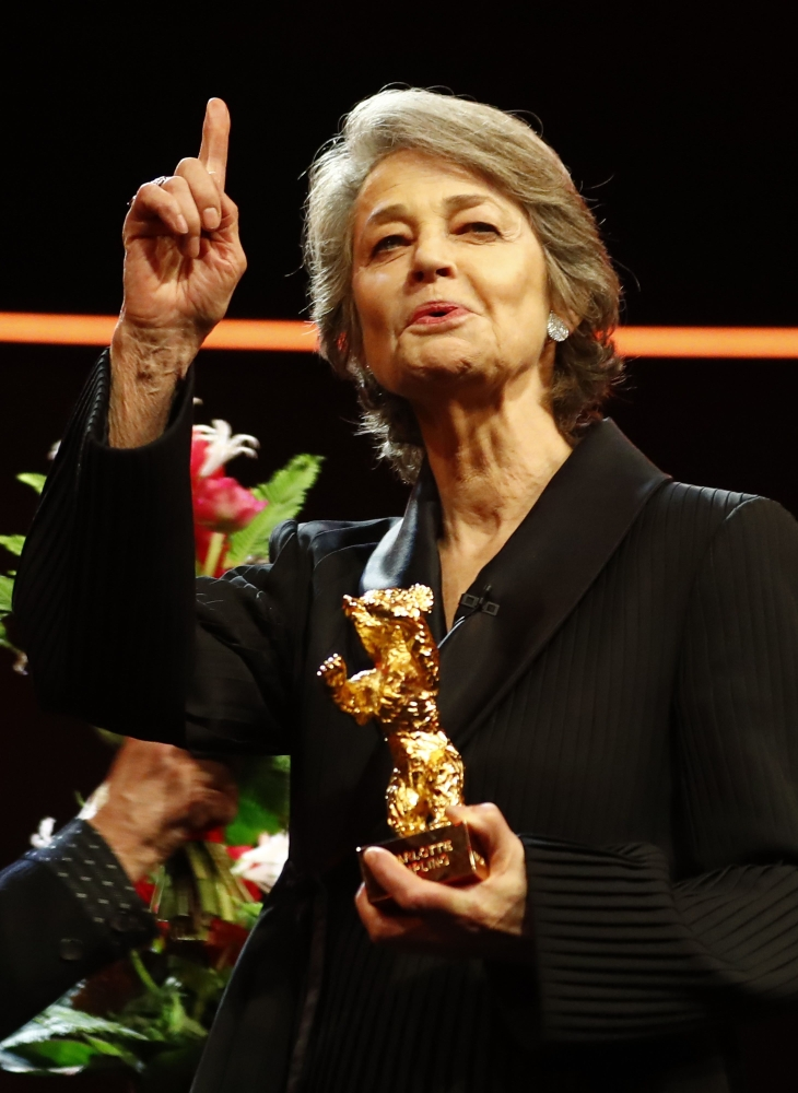 Actress Charlotte Rampling accepts an Honorary Golden Bear award at the 69th Berlinale International Film Festival in Berlin, Germany. — Reuters