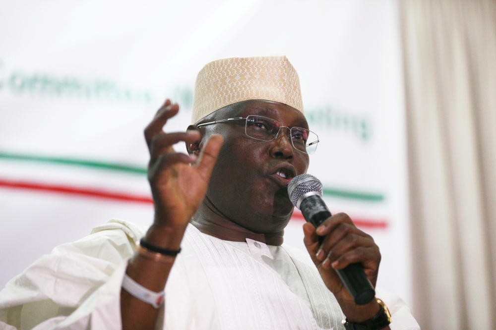 Former Vice President and People's Democratic Party candidate in upcoming presidential election Atiku Abubakar speaks during the party's emergency meeting in Abuja, Nigeria, on Tuesday. — Reuters