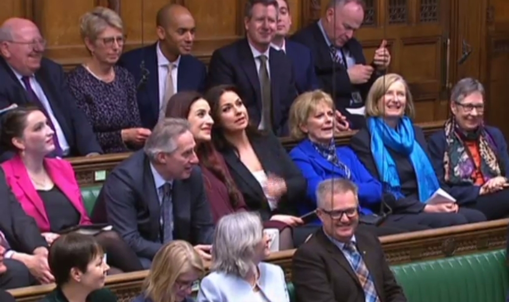 A video grab from footage broadcast by the UK Parliament's Parliamentary Recording Unit (PRU) shows former Conservative Party and now Independent MPs Anna Soubry, middle row third right, Heidi Allen, middle row fourth right, and Sarah Wollaston, middle row second right, sitting in their seats in the House of Commons in London on Wednesday with the former Labour Party members of the new Independent Group of MPs Ann Coffey, middle row right, Angela Smith, top row second left, Chris Leslie, top row third right, Mike Gapes, top row left, Luciana Berger, middle row fifth right, Gavin Shuker, top row second right, and Chuka Umunna, top row fourth right, to attend the weekly Prime Minister's Questions (PMQs) session. — AFP