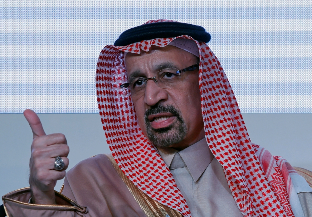 Saudi Arabia's Energy Minister Khalid Al-Falih speaks during the Saudi-India Forum in New Delhi on Wednesday. — Reuters