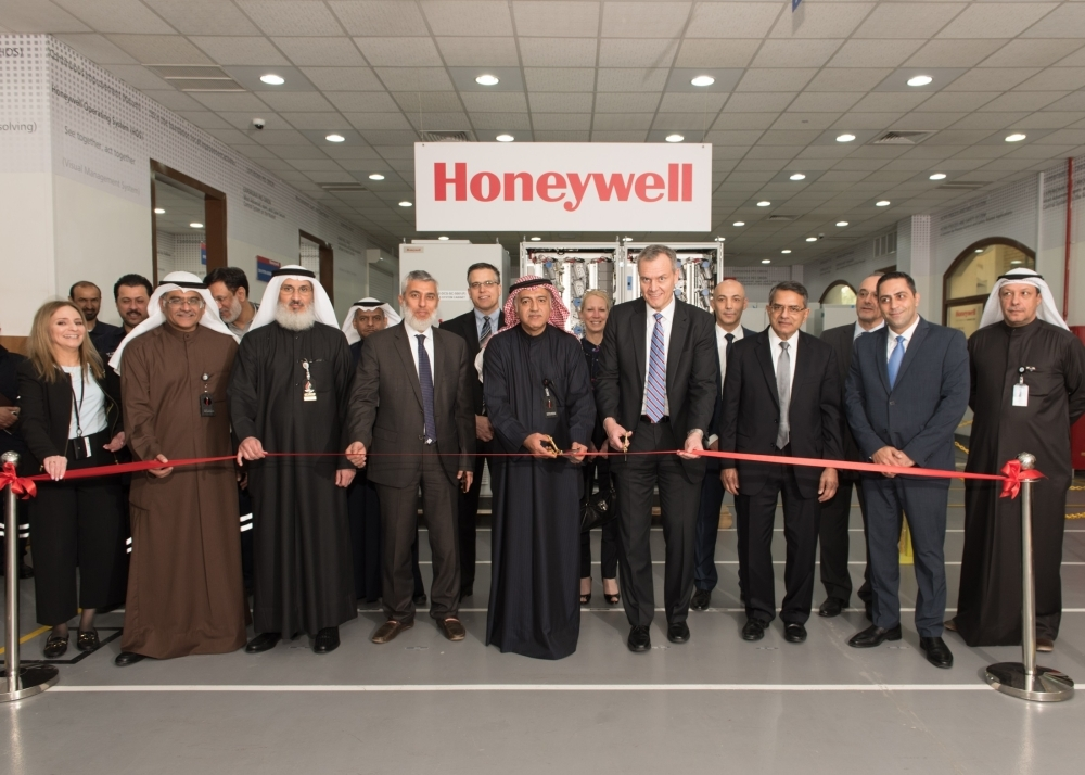 Honeywell's Chairman and CEO Darius Adamczyk and Kuwait Petroleum Corporation (KPC) Deputy Chairman and CEO Hashem Hashem inaugurate Kuwait's first certified in-country manufacturing, integration and testing center for advanced oil and gas technologies in Mina Abdullah, southern Kuwait, in the presence of senior executives on February 20, 2019