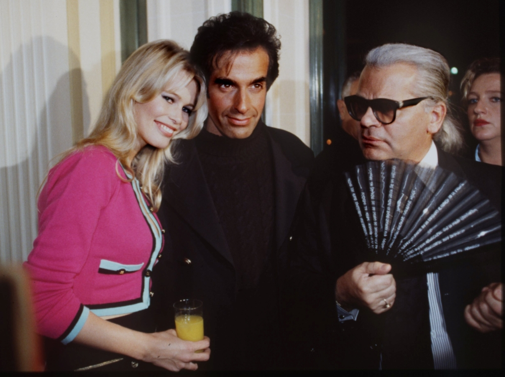 Model Claudia Schiffer with David Copperfield at the opening night of David Copperfield's show