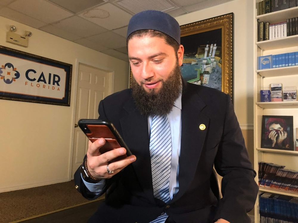 Hassan Shibly, lawyer for 24-year-old Hoda Muthana, poses in his office in Tampa, Florida, on Wednesday. — AFP