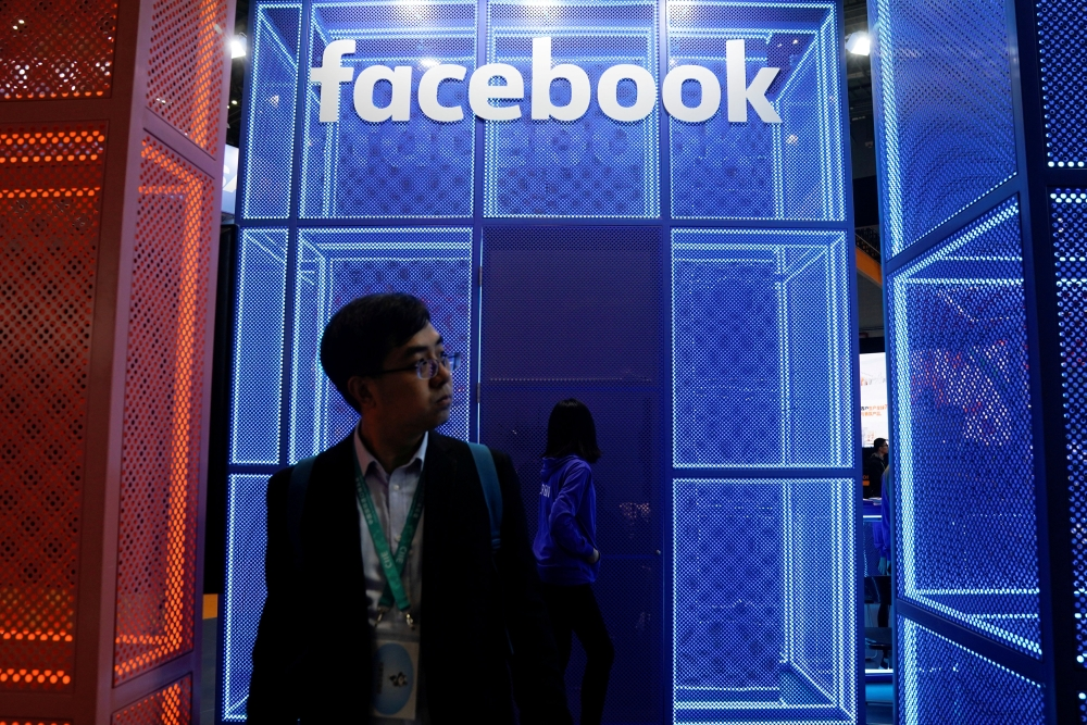 A Facebook sign is seen during the China International Import Expo (CIIE), at the National Exhibition and Convention Center in Shanghai, China , in this file photo. — Reuters