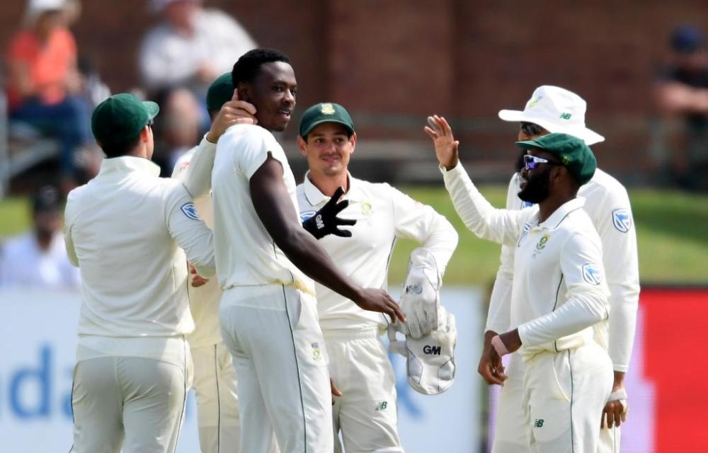 South Africa's Kagiso Rabada celebrates with his teammates after striking early in Sri Lanka's second innings in the second Test at Port Elizabeth on Friday.