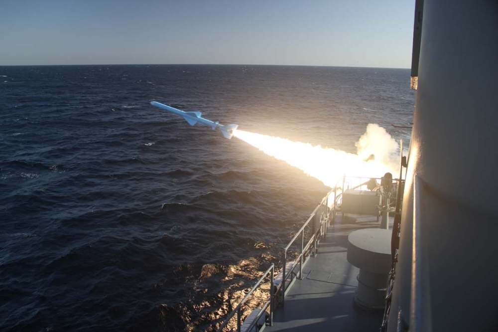 A handout photo made available by the Iranian Navy office on Saturday shows an Iranian Navy missile launch during a military drill in the Gulf of Oman. — AFP