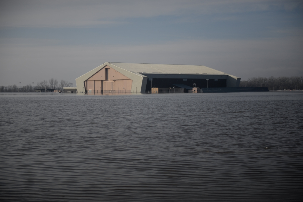 One of many areas near the southeast side of Offutt Air Force Base affected by flood waters is seen in Nebraska in this March 16, 2019 file photo. — Reuters