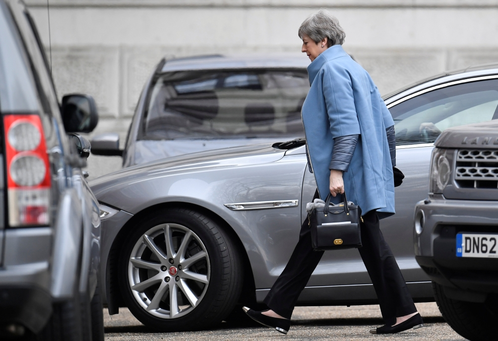 Britain's Prime Minister Theresa May is seen at Downing Street in London on Monday. — Reuters