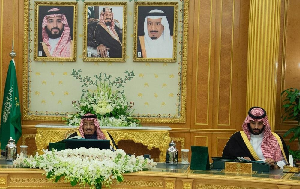 Custodian of the Two Holy Mosques King Salman and Crown Prince Muhammad Bin Salman, deputy premier and minister of defense, at the weekly session of the Cabinet at Al-Yamamah Palace in Riyadh on Tuesday. — SPA