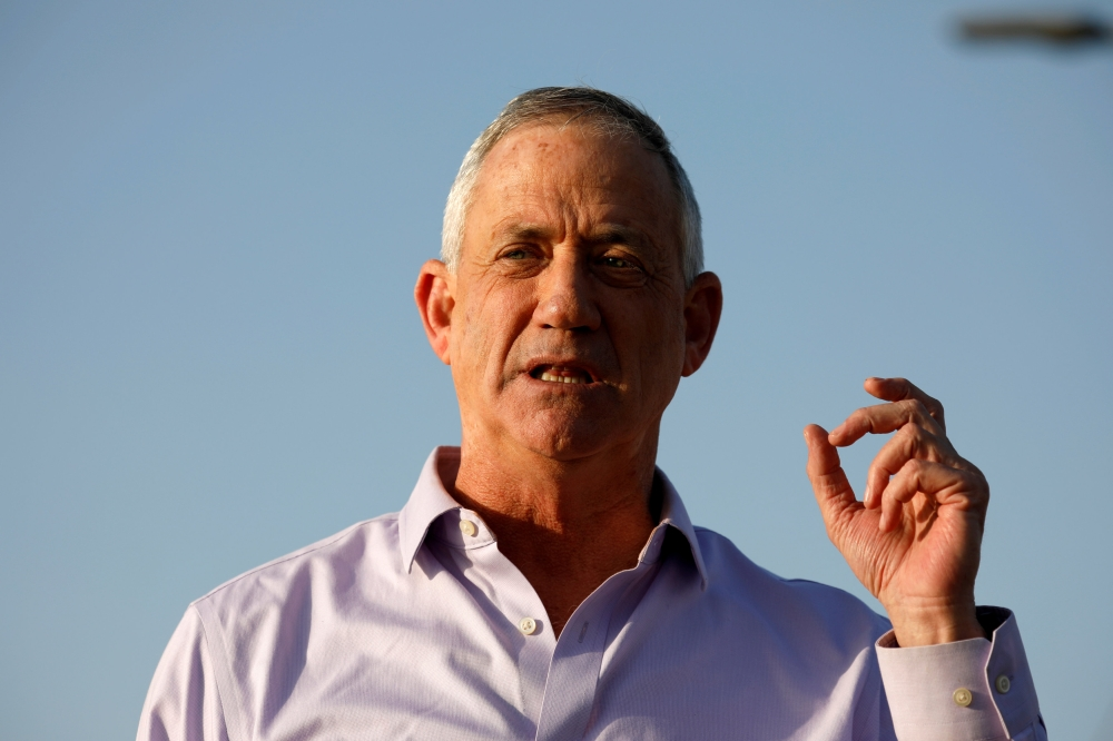Benny Gantz, head of Blue and White party, speaks to the media in Kibbutz Nir-Am, Israel, in this March 15, 2019 file photo. — Reuters
