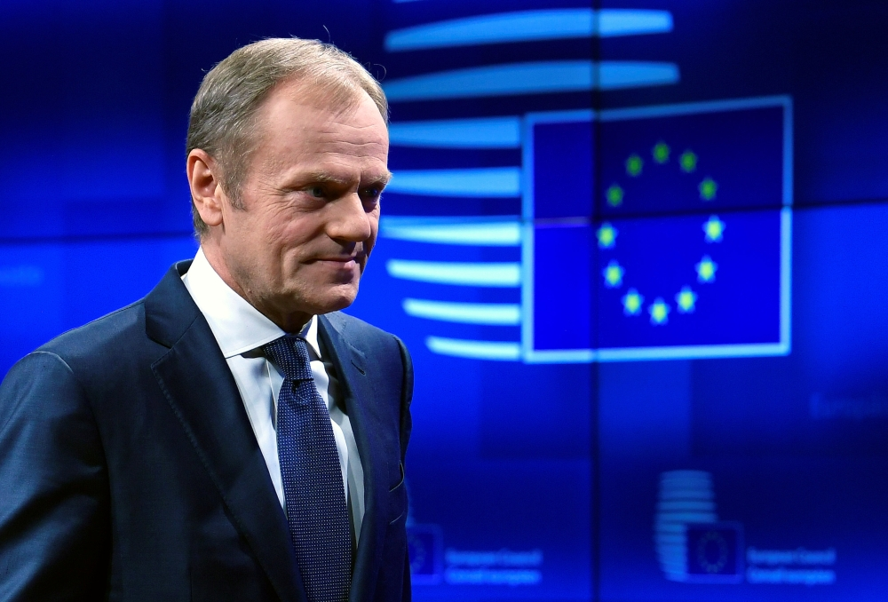 President of the European Council Donald Tusk delivers a statement on Brexit ahead of the EU summit in Brussels, Belgium, on Wednesday. — Reuters