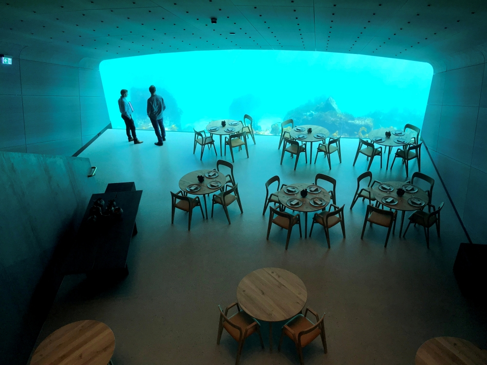 An inside view of the underwater restaurant Under in Baaly, Norway. — Reuters