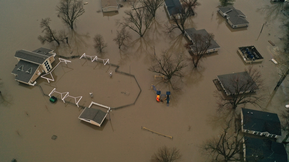 A flooded parcel of land along the Platte River is pictured in this aerial photograph at La Platte, south of Omaha, Nebraska, in this March 19, 2019 file photo. — Reuters