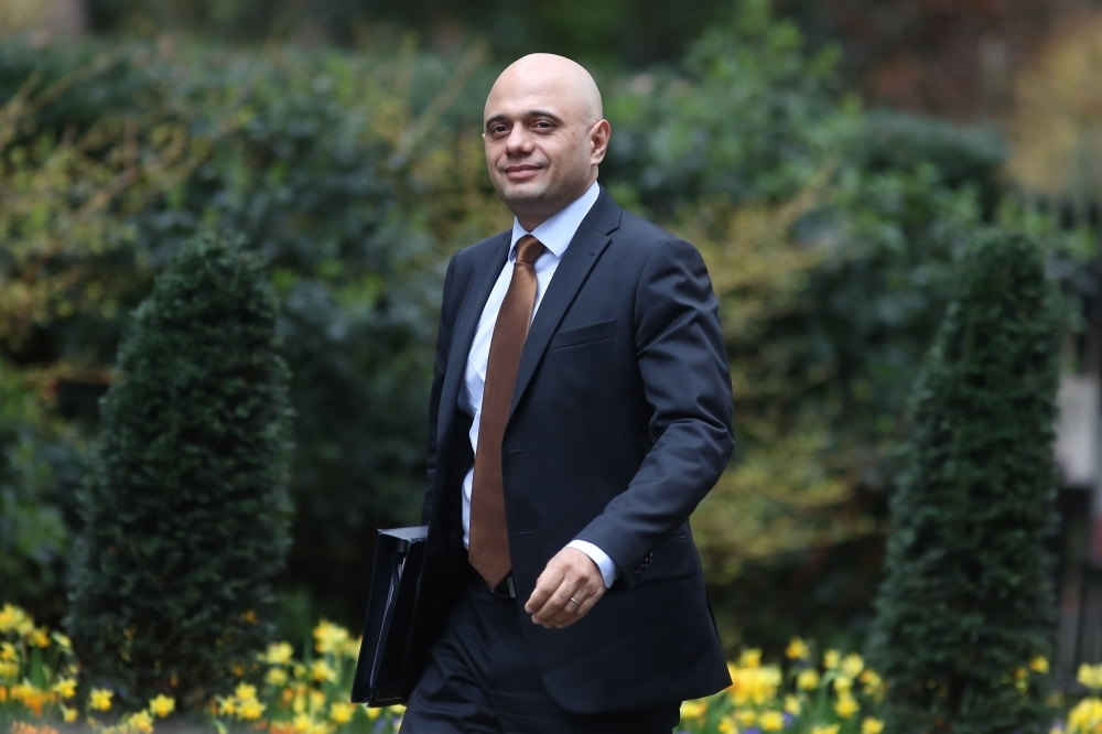 Britain's Home Secretary Sajid Javid arrives at 10 Downing Street for the weekly Cabinet meeting in London in this March 19, 2019 file photo. — AFP