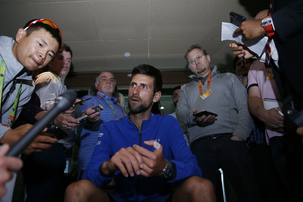 Novak Djokovic of Serbia fields questions from the media at a player availability session on Day 3 of the Miami Open Presented by Itau on Wednesday in Miami Gardens, Florida. — AFP