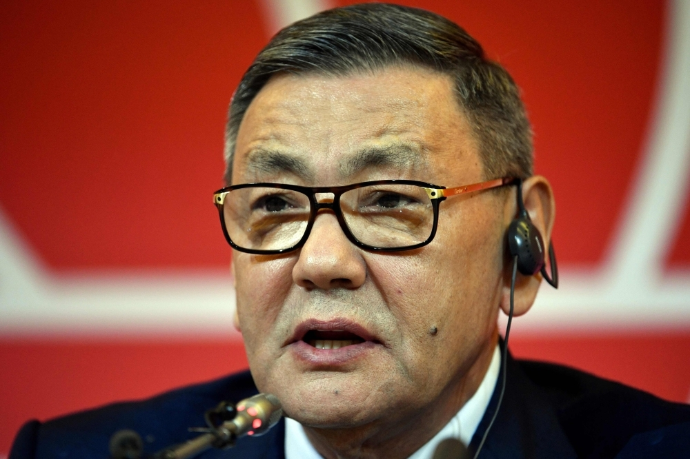 In this file photo, then newly elected president of the International Boxing Association (AIBA) Gafur Rakhimov speaks during a press conference at the annual AIBA Congress in Moscow. Rakhimov stepped down as head of the AIBA, world amateur boxing's governing body, on Friday amid a spat with the International Olympic Committee that could see the sport kicked out of the 2020 Tokyo Games. — AFP