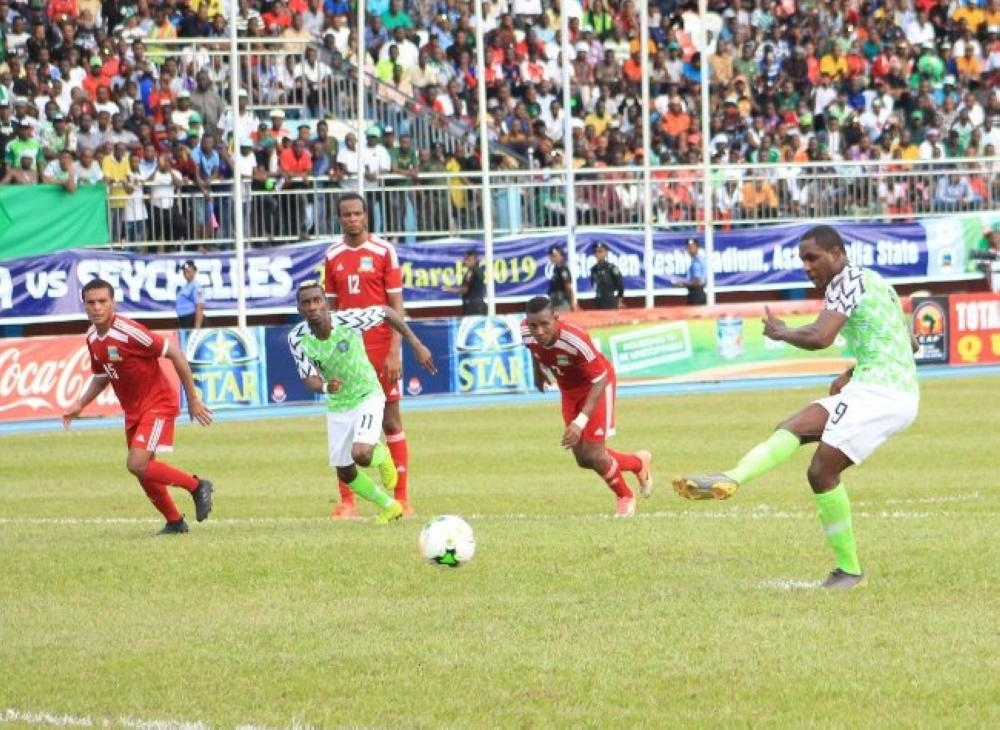 Action during the Nigeria-Seychelles clash in Asaba, Nigeria during the Africa Cup of Nations qualifying home 3-1 victory on Friday.