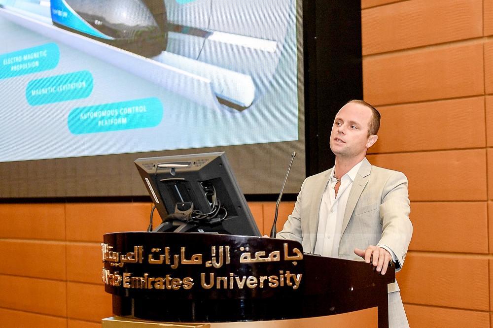 Vice President of Virgin Hyperloop One in Arabian Gulf, Colin Rhys, speaking in the UAE. — Courtesy photo