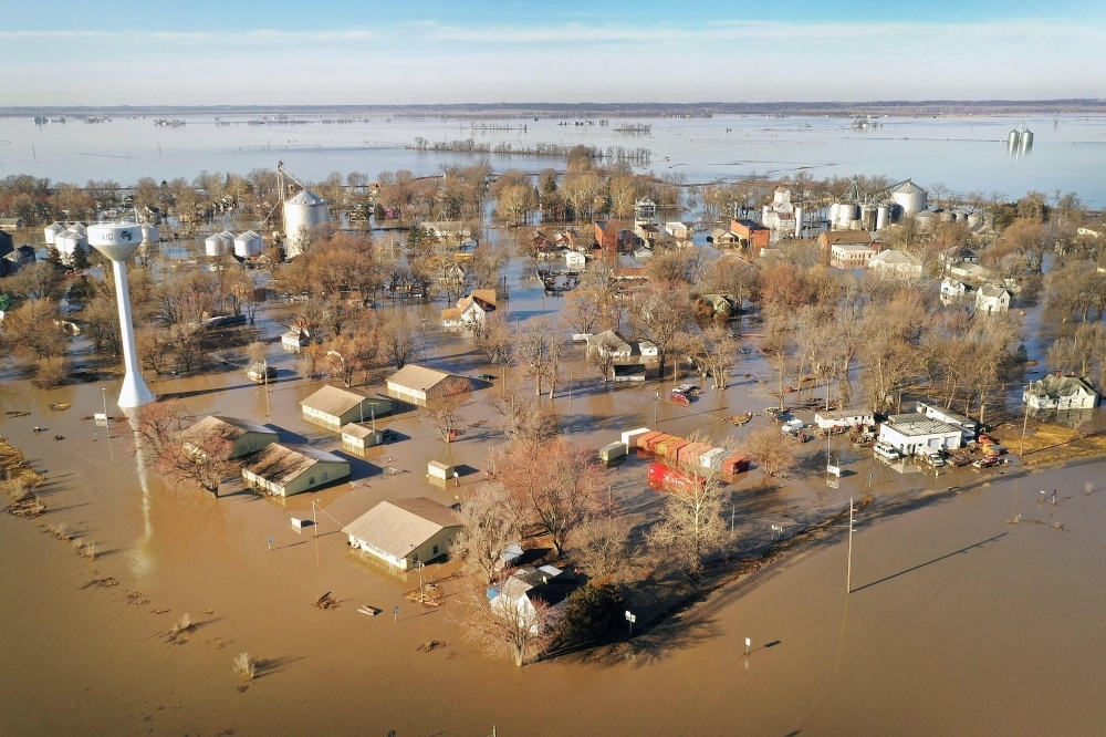 Floodwater surrounds the town in Craig, Missouri, in this March 22, 2019 file photo. — AFP