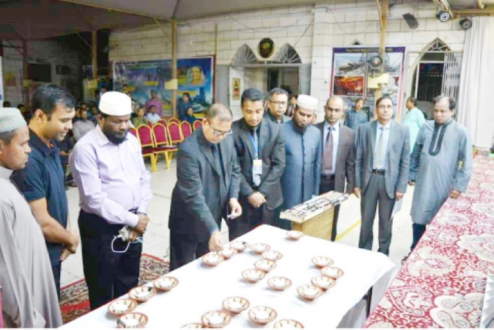 In Jeddah Consul General F.M. Borhan Uddin paying tribute to martyrs in early hours of Tuesday.