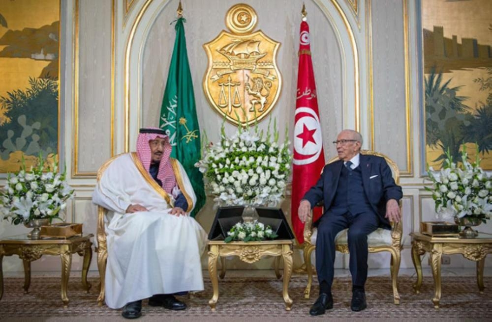 Custodian of the Two Holy Mosques King Salman and Tunisian President Beji Caid Essebsi hold talks at Carthage Palace in Tunis on Friday. — SPA