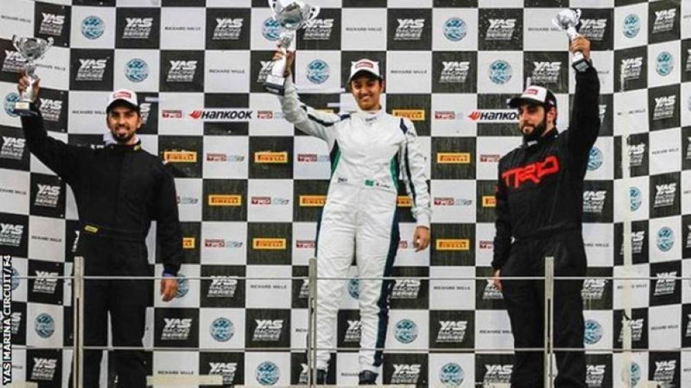 Reema Juffali (center) celebrates winning the final round of the TRD 86 Cup (Silver Category) at the Yas Marina Circuit in Abu Dhabi in this file photo.