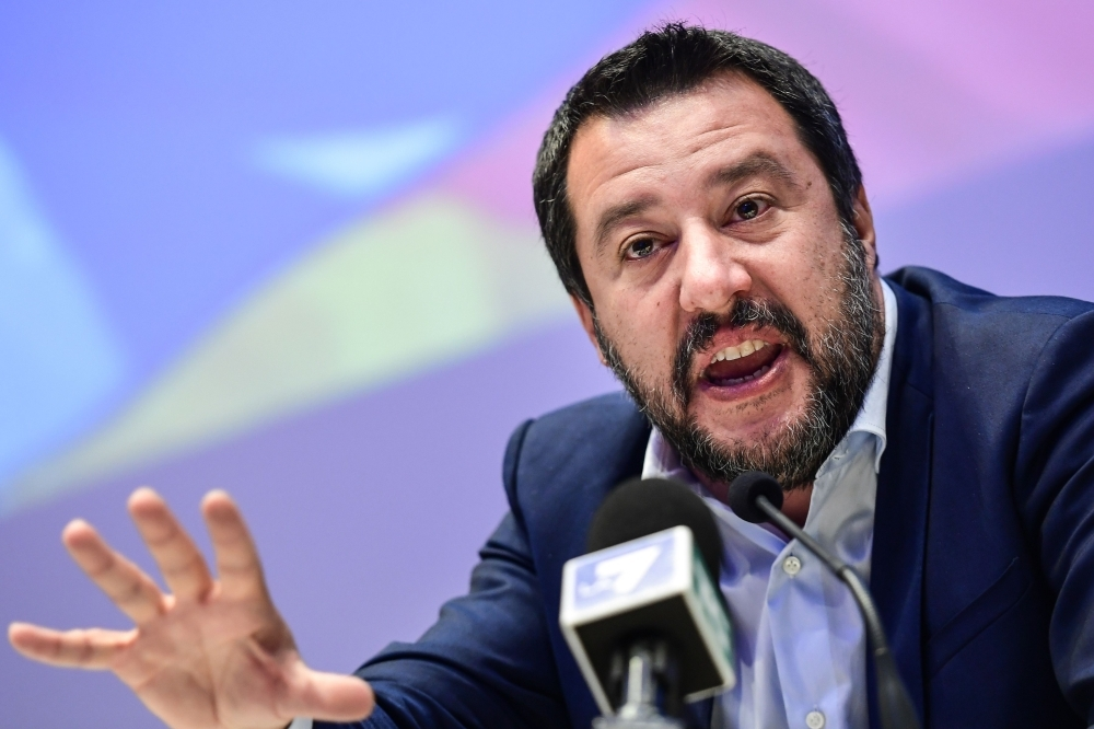Italy's Interior Minister, deputy PM and Federal Secretary of Italy's Northern League (Lega Nord) right-wing regionalist political party, Matteo Salvini speaks during a meeting of European nationalists in Milan on Monday. — AFP