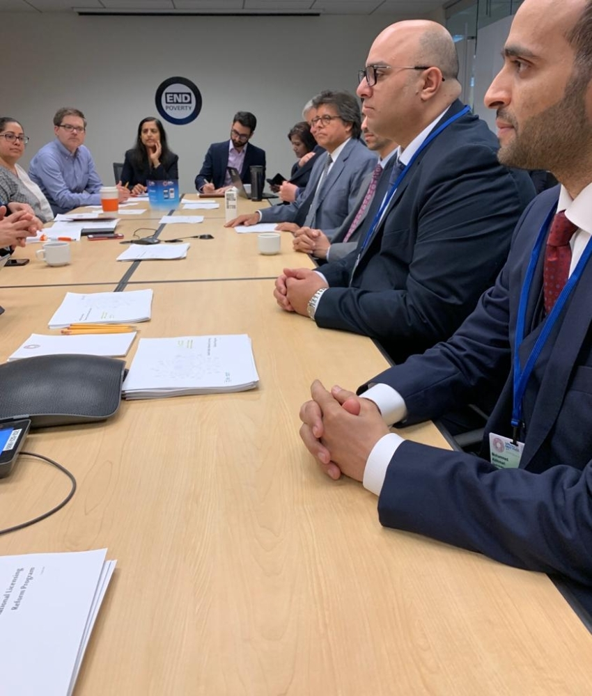 SAGIA Deputy Governor Ibrahim AlSuwail (second, right) presents case study on National Licensing Reform Program as part of Saudi delegation at the World Bank's Spring Meetings in Washington, D.C.