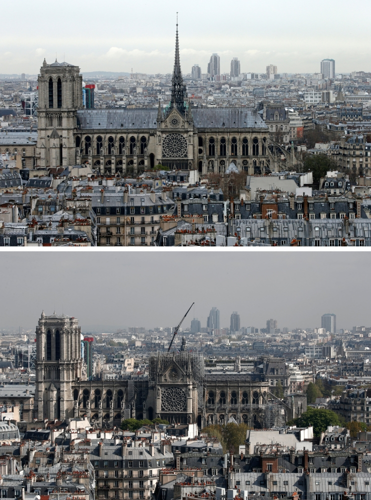 A combination picture shows a general view of Notre-Dame Cathedral before, top and after a fire devastated large parts of the gothic structure in Paris, France, on Wednesday. — Reuters