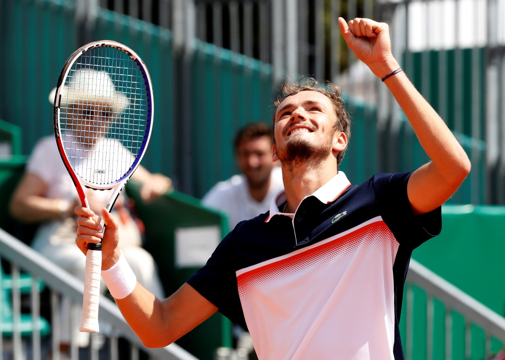 Russia's Daniil Medvedev celebrates winning his third round match against Greece's Stefanos Tsitsipas during the ATP 1000 - Monte Carlo Masters at the Monte-Carlo Country Club, Roquebrune-Cap-Martin, France on Thursday. — Reuters