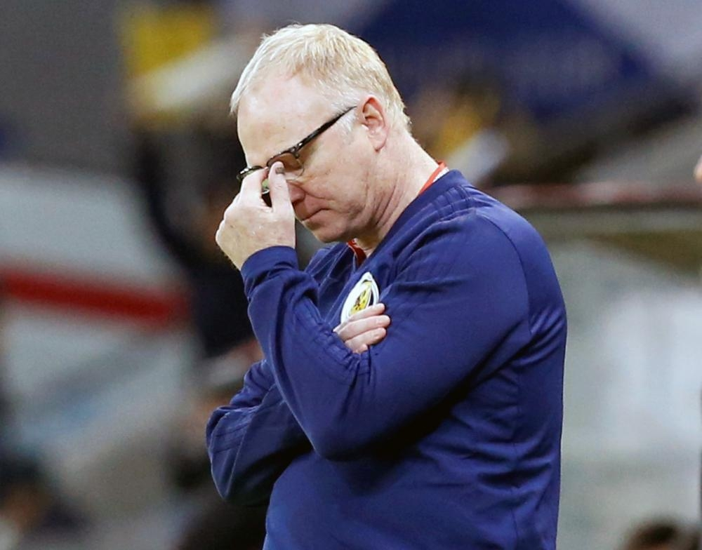 Scotland manager Alex McLeish reacts during the match against Kazakhstan during the Euro 2020 Qualifier - Group I clash at the Astana Arena, Astana, Kazakhstan. — Reuters