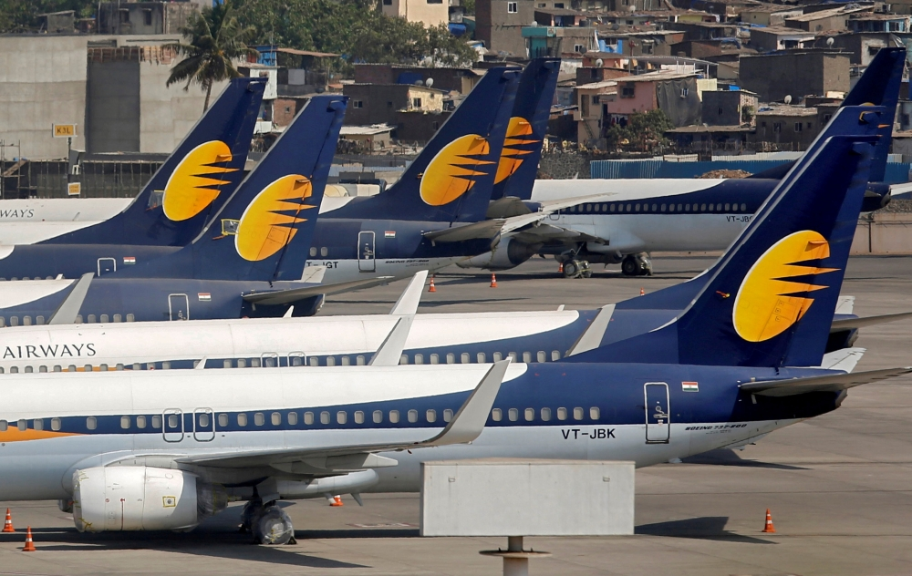 Jet Airways aircraft are seen parked at the Chhatrapati Shivaji Maharaj International Airport in Mumbai, India, on Thursday. — Reuters