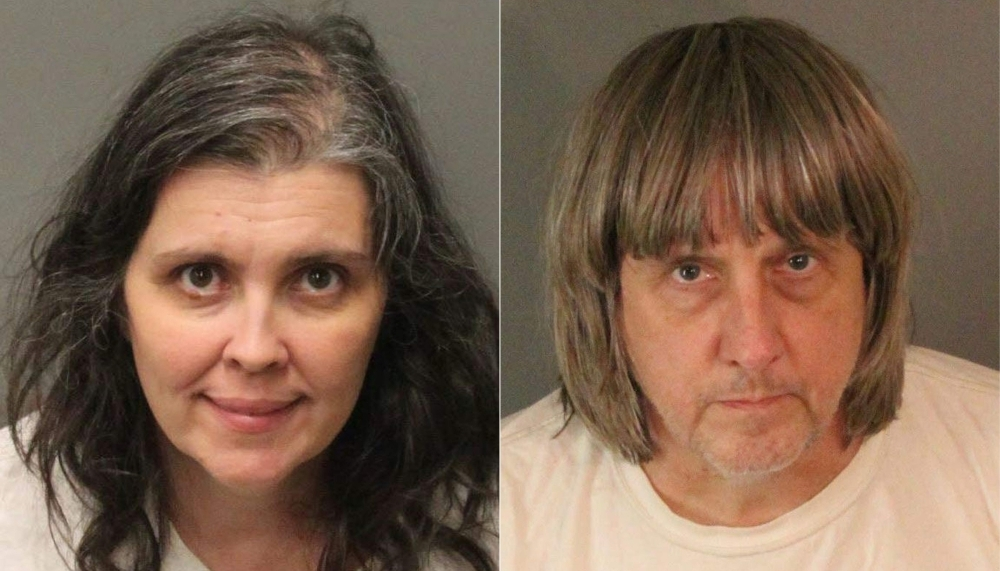 This combination of pictures created on Jan.15, 2018 shows booking photos from the Riverside County Sheriff's Department of David Allen Turpin, right, and Louise Anna Turpin. — AFP