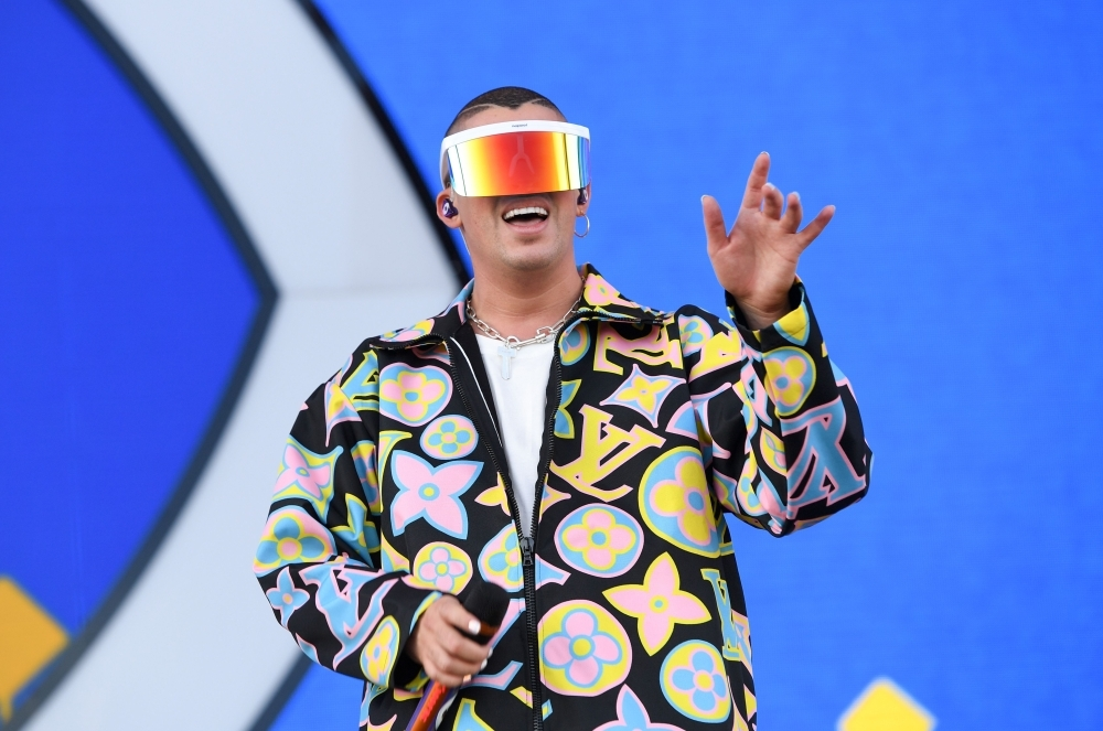 Puerto Rican singer Bad Bunny performs on stage at the Coachella Valley Music and Arts Festival in Indio, California. — AFP