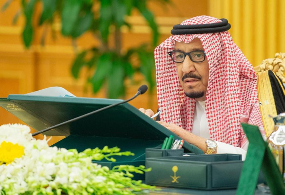 Custodian of the Two Holy Mosques King Salman chairs the Council of Ministers' session at Al-Yamamah Palace in Riyadh on Tuesday. — SPA