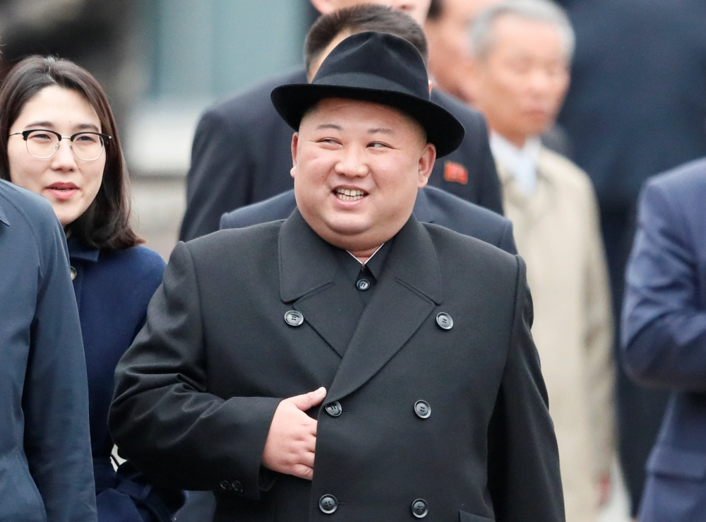 North Korean leader Kim Jong Un arrives at a railway station in the far eastern city of Vladivostok, Russia, on Wednesday. — Reuters