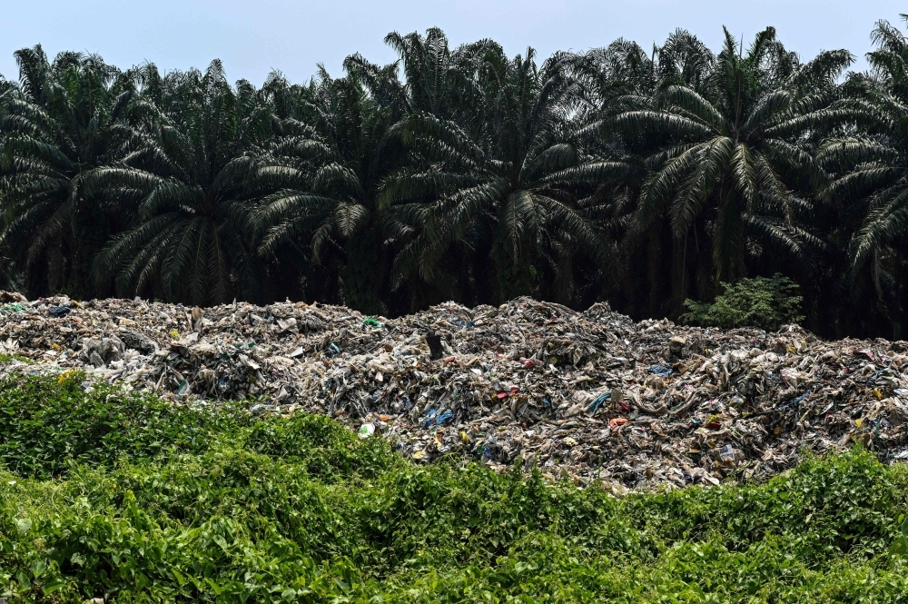 This picture taken on March 8, 2019 shows plastic waste near palm oil trees at an abandoned factory in Jenjarom, a district of Kuala Langat, outside Kuala Lumpur. — AFP