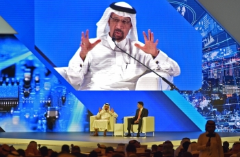 Saudi Arabia's Energy Minister Khalid Al-Falih speaks at the Financial Sector Conference in Riyadh on Wednesday. — AFP