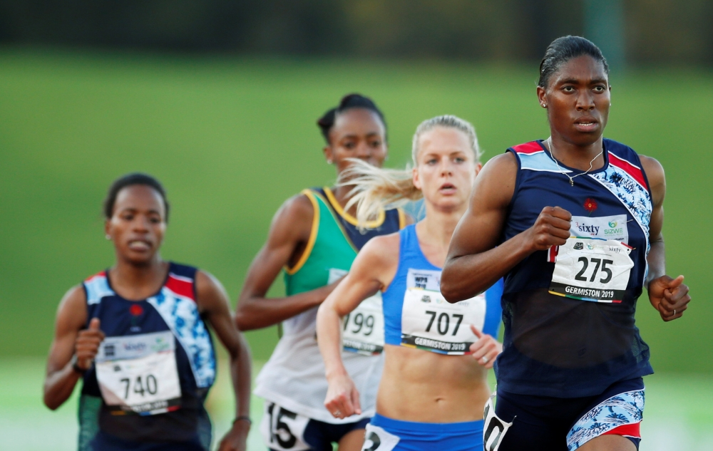 South Africa's double Olympic champion Caster Semenya takes part in the 5,000m run at South African Championships in Germiston, South Africa, on Thusday. — Reuters