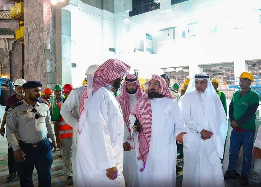 Sheikh Abdurahman Al-Sudais inspects the King Abdulaziz Gate of the Grand Mosque on Monday.