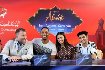 Director Guy Ritchie and cast members Will Smith, Naomi Scott and Mena Massoud of Disney's live-action 'Aladdin', attend a news conference in Amman, Jordan, Monday. — Reuters