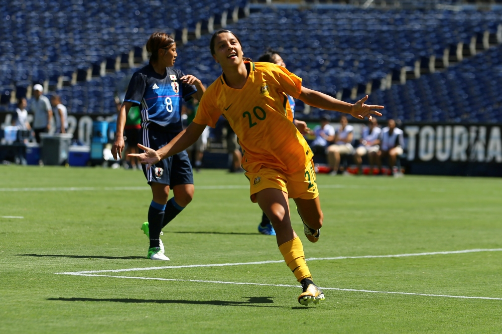 Australia's Sam Kerr celebrates scoring her third goal against Japan during the Tournament of Nations Soccer 2017 at the Qualcomm Stadium, San Diego, California, in this file photo. — Reuters