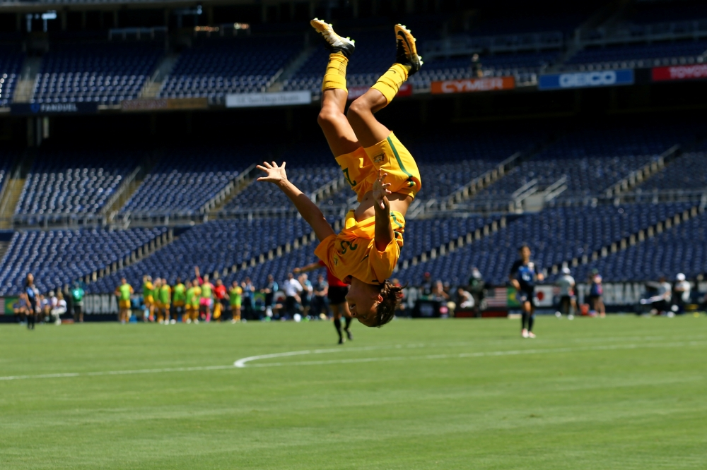 Australia's Sam Kerr does her trademark back flip after scoring her third goal against Japan during the Tournament of Nations Soccer 2017 at the Qualcomm Stadium, San Diego, California, in this file photo. — Reuters