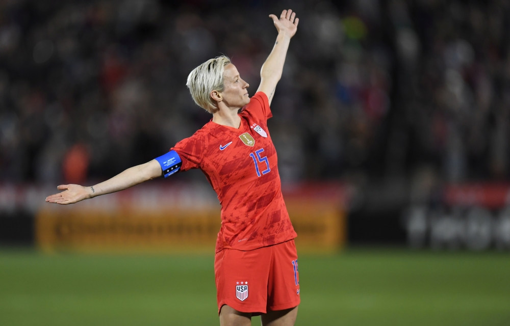 United States forward Megan Rapinoe (15) reacts following her goal in the second half during an International Friendly Women's Soccer match against Australia at Dick's Sporting Goods Park Commerce City, CO, USA. — Reuters