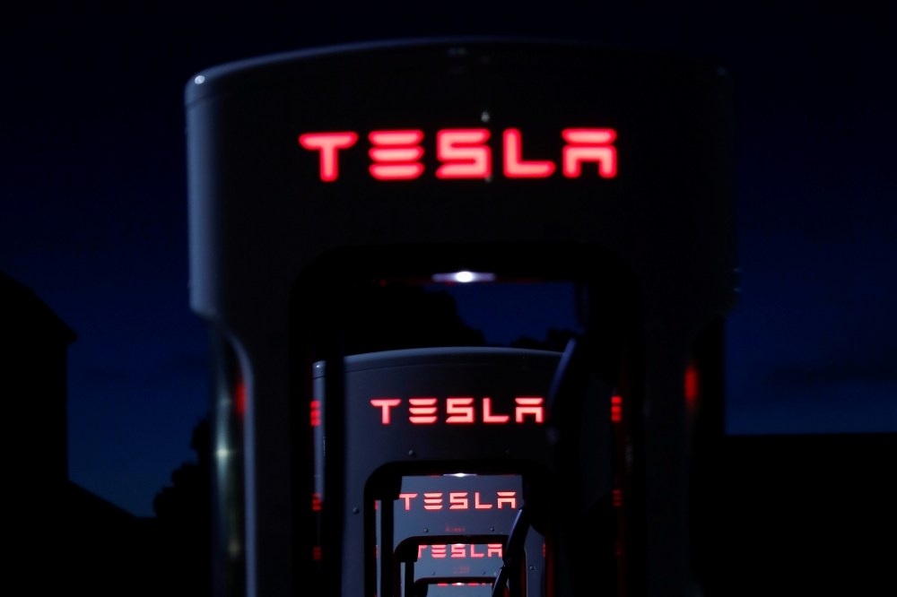 Tesla Superchargers are shown in Mojave, California, US, on this file photo. — Reuters