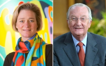 King Albert II of Belgium, right, and Belgian artist Delphine Boel, who is seeking court recognition of the king as her father, are seen in this file combo picture. — Courtesy photo