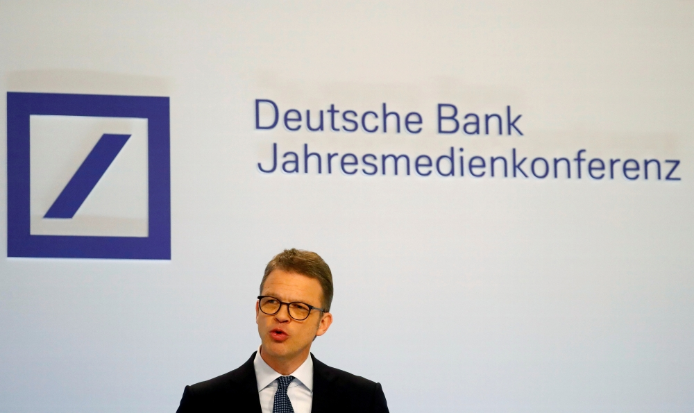 Christian Sewing, CEO of Deutsche Bank AG, addresses the media during the bank's annual news conference in Frankfurt, Germany, in this recent photo. — Reuters